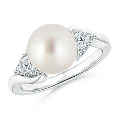 Angara Freshwater Cultured Pearl Ring with Trio Diamonds z07XZfLMQN