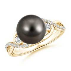 Angara Tahitian Cultured Pearl Ring with Cluster Diamonds 17kzvYT