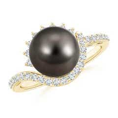 Tahitian Cultured Pearl Bypass Ring with Diamond Accents