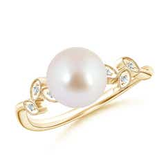 Vintage Style Akoya Cultured Pearl Ring with Leaf Motifs
