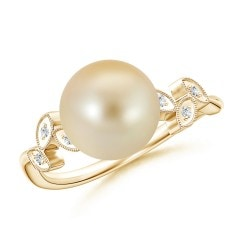 Golden South Sea Cultured Pearl Ring with Leaf Motifs