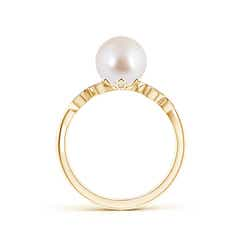 Vintage Inspired FreshWater Cultured Pearl Ring with Diamond Milgrain