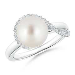 Angara South Sea Cultured Pearl Chevron Ring with Diamond 6O97Ym
