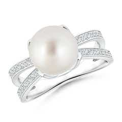 South Sea Cultured Pearl Solitaire Split Shank Ring