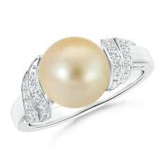 Golden South Sea Cultured Pearl and Diamond Swirl Ring