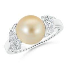Angara South Sea Cultured Pearl XO Ring with Diamonds RQ07XIW6O