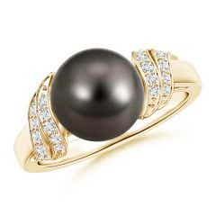 Round Tahitian Cultured Pearl Solitaire Ring with Diamond Swirl