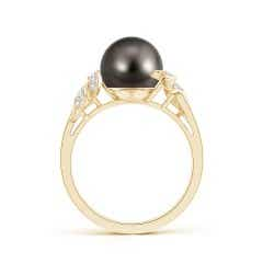 Toggle Tahitian Cultured Pearl and Diamond Swirl Ring