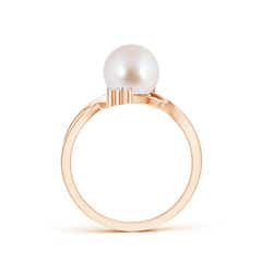 Toggle Akoya Cultured Pearl Bypass Ring with Trio Diamond