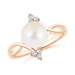 Freshwater Cultured Pearl Bypass Ring with Trio Diamond