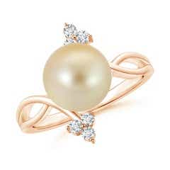 Golden South Sea Cultured Pearl Bypass Ring with Trio Diamond