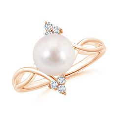 Solitaire Akoya Cultured Pearl Bypass Ring with Trio Diamond