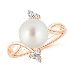 South Sea Cultured Pearl Bypass Ring with Trio Diamond