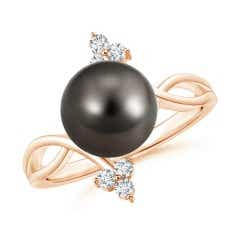 Solitaire Tahitian Cultured Pearl Bypass Ring with Trio Diamond