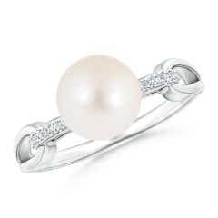Freshwater Cultured Pearl Ring with Diamond Loop Link