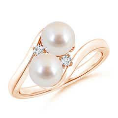 Double Akoya Cultured Pearl Ring with Diamond Accents