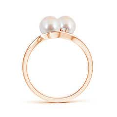 Toggle Double Akoya Cultured Pearl Ring with Diamond Accents