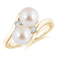 Double Akoya Cultured Pearl Bypass Ring with Diamond Accents