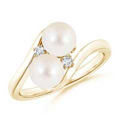 Double Freshwater Cultured Pearl Ring with Diamond Accents