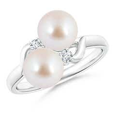Two Stone Akoya Cultured Pearl Bypass Ring with Diamond Accents