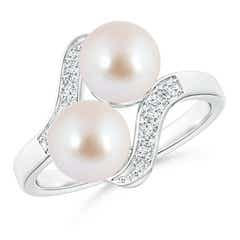 Dual Akoya Cultured Pearl Ring with Diamond Accents