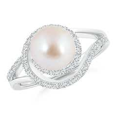 Akoya Cultured Pearl Spiral Halo Engagement Ring with Diamond Accents