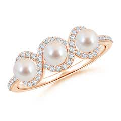 Three Stone Akoya Cultured Pearl Halo Ring with Diamond Accents