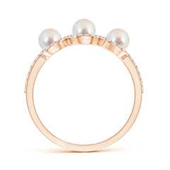 Toggle Three Stone Akoya Cultured Pearl Halo Ring with Diamonds