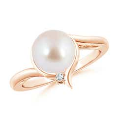 Akoya Cultured Pearl Solitaire Ring with Diamond