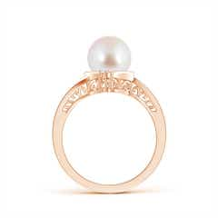 Toggle Akoya Cultured Pearl Solitaire Ring with Diamond