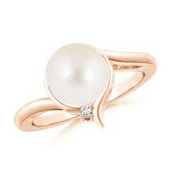 Freshwater Cultured Pearl Solitaire Ring with Diamond