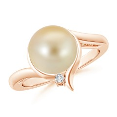 Golden South Sea Cultured Pearl Solitaire Ring with Diamond