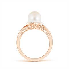 Contemporary FreshWater Cultured Pearl Solitaire Ring with Diamond