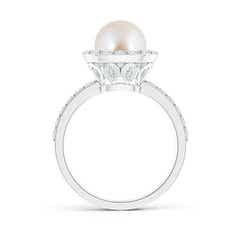 Toggle Vintage Style Akoya Cultured Pearl and Diamond Halo Ring