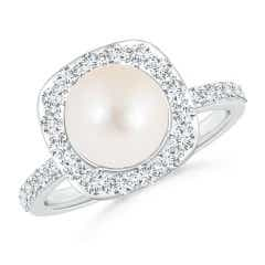 Vintage Style Freshwater Cultured Pearl and Diamond Halo Ring
