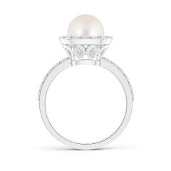 Toggle Vintage Style Freshwater Cultured Pearl and Diamond Halo Ring