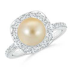 Vintage Inspired Golden Japanese Cultured Pearl and Diamond Halo Ring