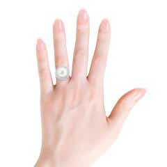 FreshWater Cultured Pearl and Diamond Double Halo Ring