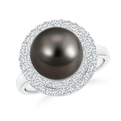 Tahitian Cultured Pearl and Diamond Double Halo Ring