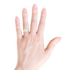 South Sea Cultured Pearl and Diamond Double Halo Ring