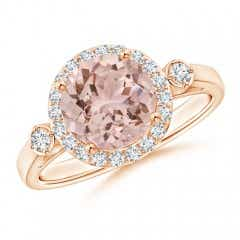 Classic Round Morganite and Diamond Halo Ring with Side Accents