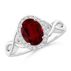 GIA Certified Oval Ruby Infinity Ring with Diamond Halo