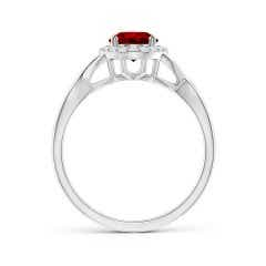 Toggle GIA Certified Oval Ruby Infinity Ring with Diamond Halo