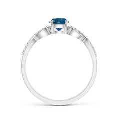 Toggle Round London Blue Topaz Infinity Ring with Diamonds