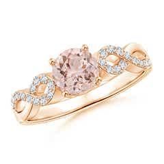 Solitaire Round Morganite Infinity Ring with Diamond Accents