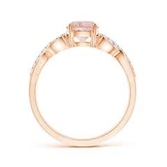 Toggle Solitaire Round Morganite Infinity Ring with Diamond Accents