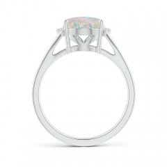 Toggle Oval Opal Split Shank Ring with Diamond Collar