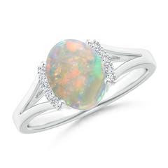 Split Shank Oval-Cut Opal and Diamond Collar Ring