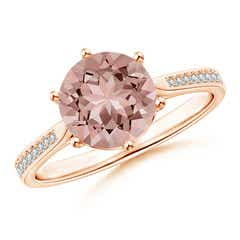 Six Prong-Set Round Morganite Cathedral Engagement Ring