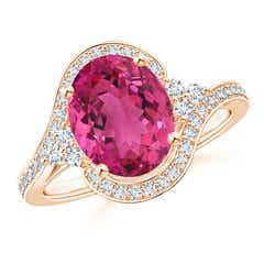 Oval Pink Tourmaline Bypass Ring with Diamond Accents